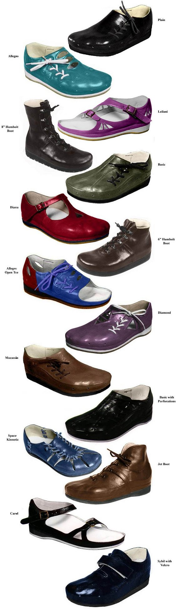 Our most popular shoe styles which include: Plain style, Allegro style, Moccasin style, Leilani style, Basic style, Diana style, BASIC Ventilated style, Carol style, HUMBOLD Low style, Space Kinetic Shoe -- Murrays Space Shoe style, Jet Boot style, Humboldt Boot High style.
